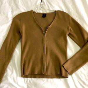 Zip up beige brown ribbed long sleeve